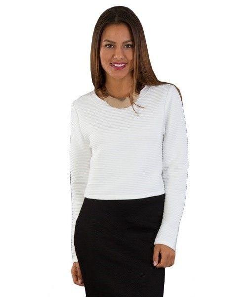 Alex Rib textured long sleeve crop – White   redthread7.com.au Go casual Or dress it up …..Every girls Essential!