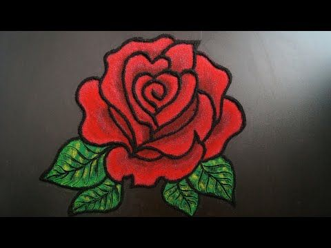 Beautiful Rose Flower Rangoli Diwali Special Rangoli Easy Freehand Rangoli Rangoli Design Yout Rangoli Designs Flower Flower Rangoli Rangoli Designs