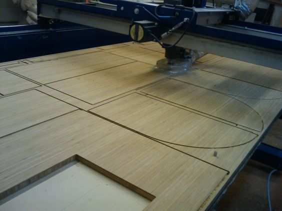 Bamboo plywood being cut to build a new custom vanity.