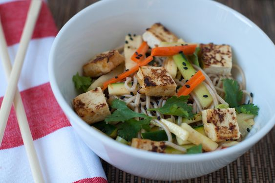 Cold soba noodles with miso tofu and summer vegetables