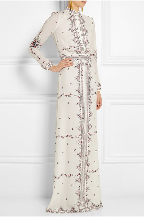 Vilshenko | Florence printed silk-crepe gown | NET-A-PORTER.COM:
