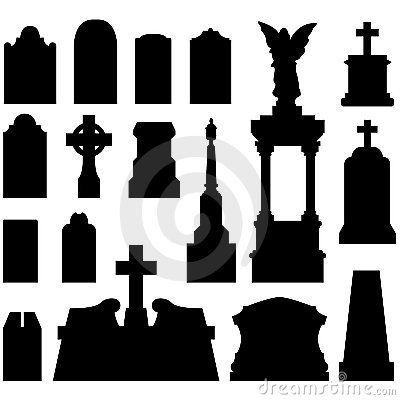 tombstone templates for halloween - tombstones outlines headstones and gravestones in vector