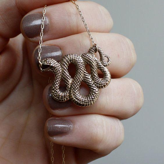 snake talisman necklace. solid bronze & 14K gold fill.
