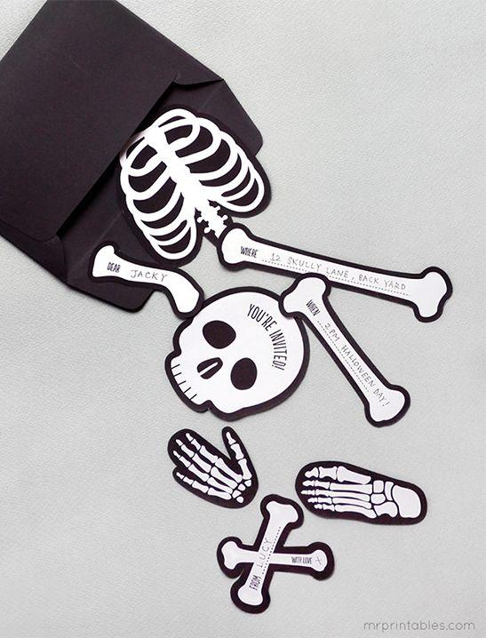Bag O'Bones Halloween Party Invites - Mr Printables