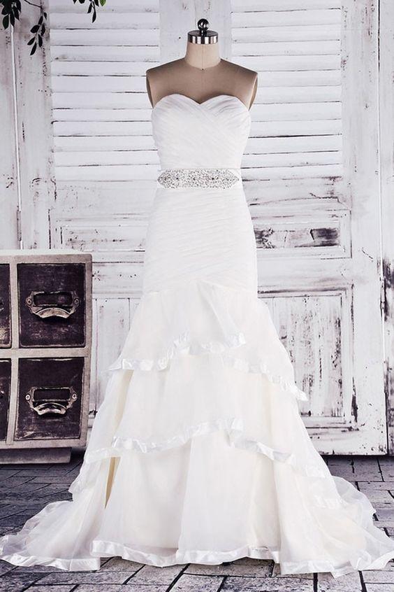 Strapless Sweetheart Drop Waist Tiered Court Organza Mermaid Bridal Gown w/ Beaded Belt