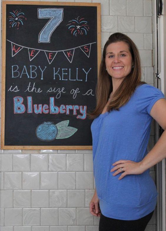 7 Weeks Pregnancy Chalkboard/Patriotic/4th of July