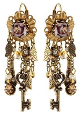 Created by Michal Negrin with Hand Painted Flowers and Vintage Rose, Garnished with Falling Chains, Key, Leaf Charms and Beige, Faux Pearl Swarovski Crystals and Beads; Hypoallergenic: Michal Negrin: Jewelry