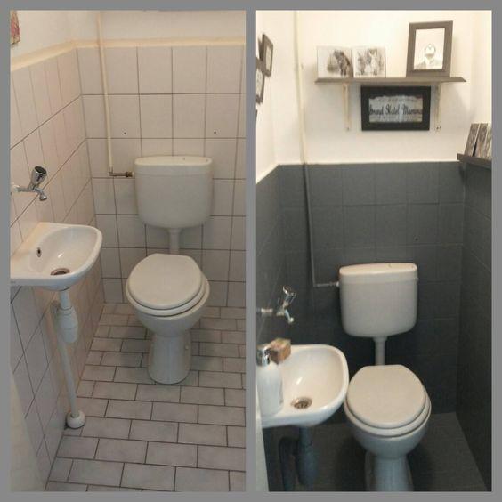 Toilet opknappen met krijtverg chalk paint idee n voor het huis pinterest toiletten met - Deco wc grijs ...