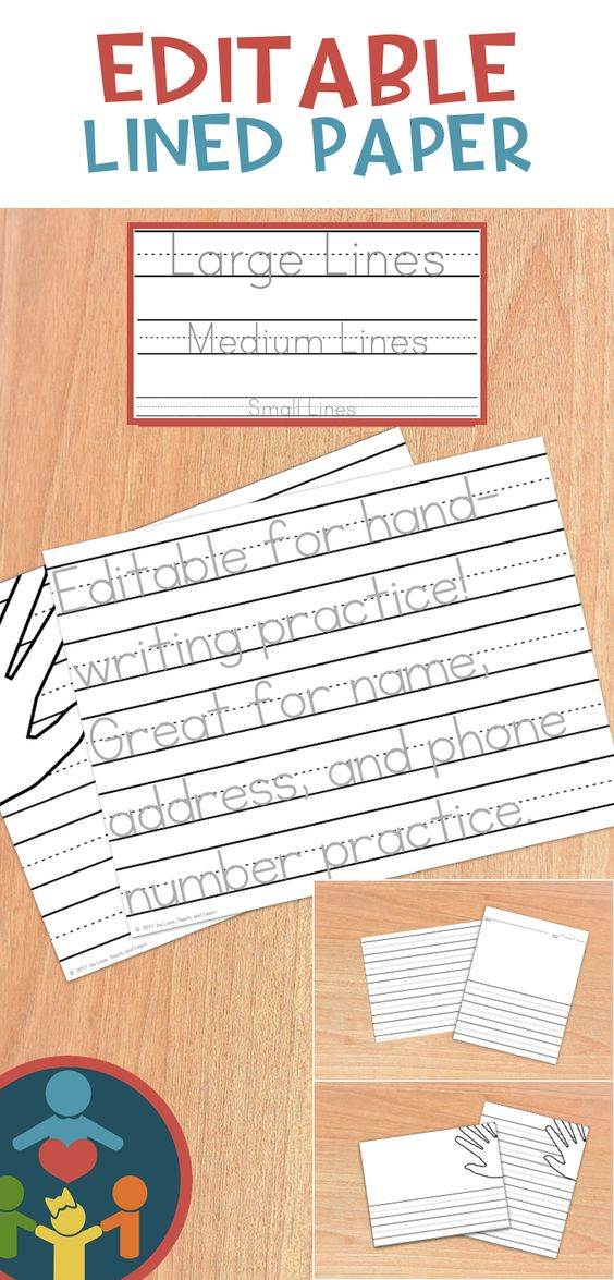 Kindergarten   Primary Lined Paper  Print Cursive handwriting - editable lined paper