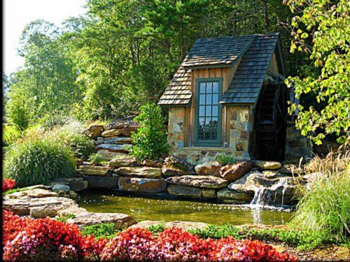 Tiny Stone Cottage With Waterwheel Tiny House