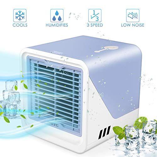 Air Cooler Mini Portable Air Conditioner Fan Noiseless Evaporative Air Humidifier Personal Space Air Conditioner Mini Cooler 3 Gear Speed Led Night Office Cooler Humidifier Purifier Best Humidifier Mini Cooler Air