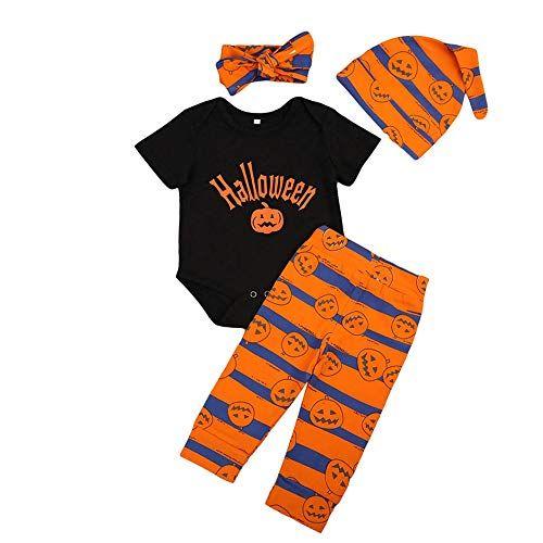 US Newborn Kid Baby Girl Boy Pumpkin Striped Romper Tops Pants Halloween Clothes