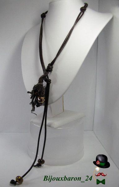 Lederhalskette, Glas und Steinperlen, braun von Bijouxbaron_24 auf DaWanda.com