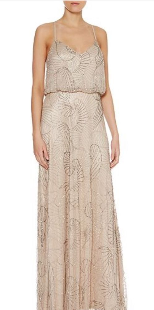 Adrianna Papell Art Deco Beaded Maxi Dress-Rose Gold-size 12 ...