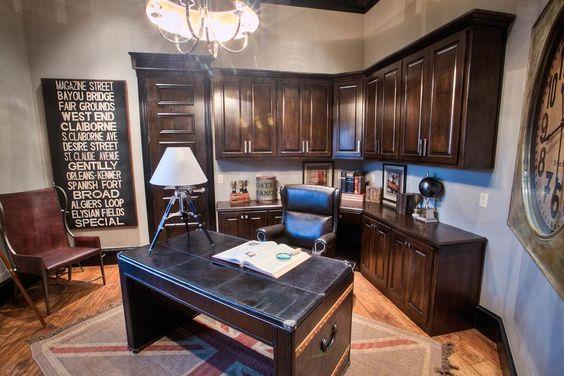 Traditional Home Office with Chandelier, Hardwood floors, Built-in bookshelf