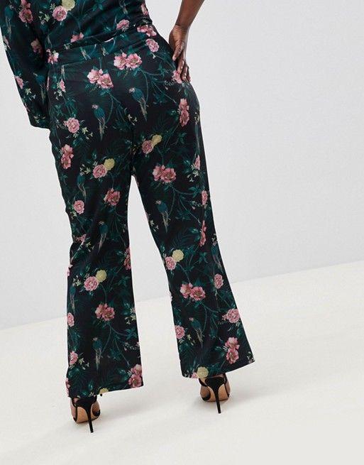Fashion Union Plus | Fashion Union Plus - Pantalon large imprimé fleurs romantiques, ensemble
