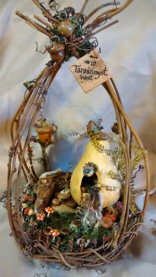 Gourd Fairy House with an oak theme ~ Please visit my website to see more of my work.  I would love to hear from you! #fairyhouses