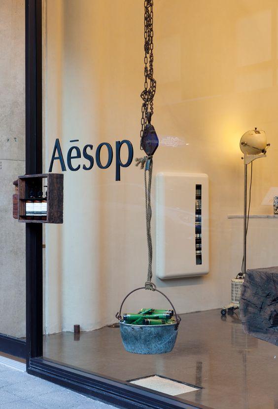 Hanging display, Window Display Idea   storefront at aesop -★-