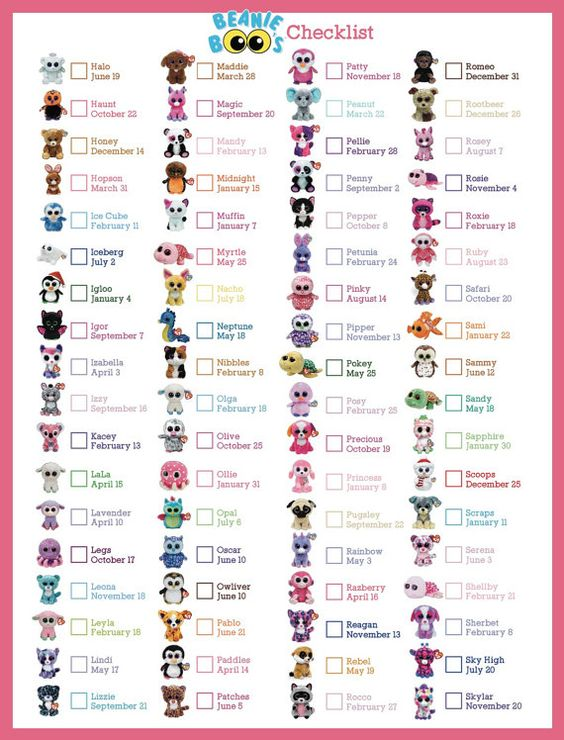 Beanie Boo Checklist - Instant Download - 8 x 10.5  Check your TY Boos off this…