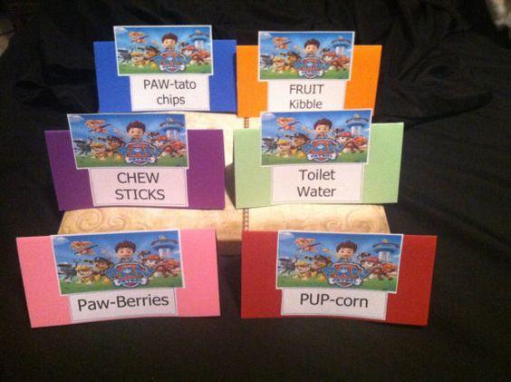 Paw patrol birthday food labels and paw patrol on pinterest