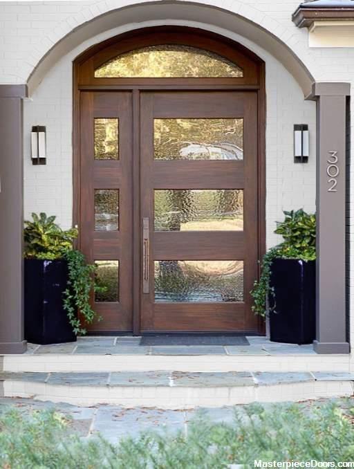 Modern Cherry Single Arched Front Entry Door 3 Panel In 2020 Contemporary Front Doors House Front Door Design Door Design Modern