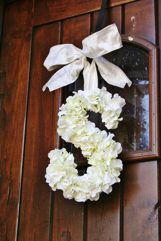 18 Inch Floral Monogram Letter Initial Wedding Door Wreath