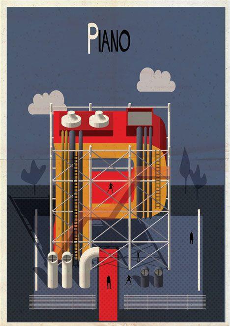 Archibet alphabet of architects by Federico Babina | Renzo Piano