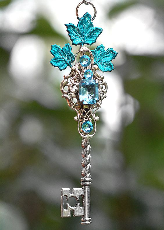Blue Leaves Key Necklace by KeypersCove on Etsy, $33.00: