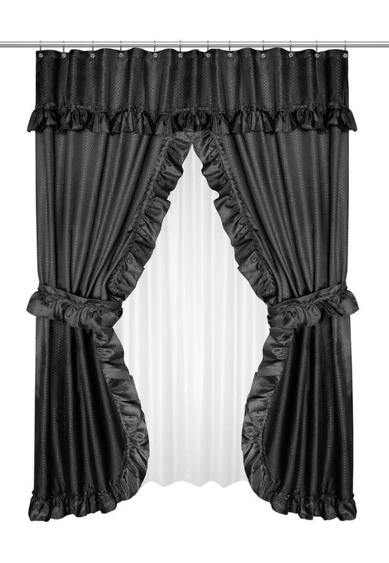 Ruffled Double Swag Shower Curtain with Valance & Tie-Backs, Black ...