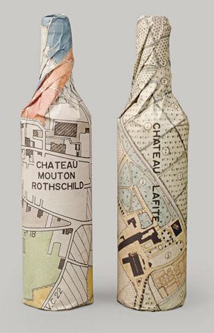 """London designer, Paul Belford, created a beautiful wrap using a layout of the estate as a pattern. The """"W"""" identity is based on a familiar view of a wine rack.    """"Waddesdon Manor is the historical country seat of the Rothschild family in the UK and home to Waddesdon Wine, the official distributor for the Rothschild collection of wines."""""""