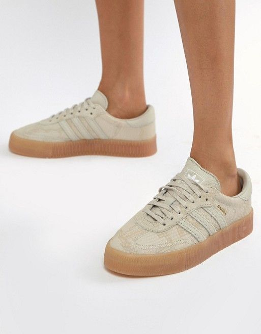 adidas Originals Samba Rose Sneakers In Tan With Gum Sole