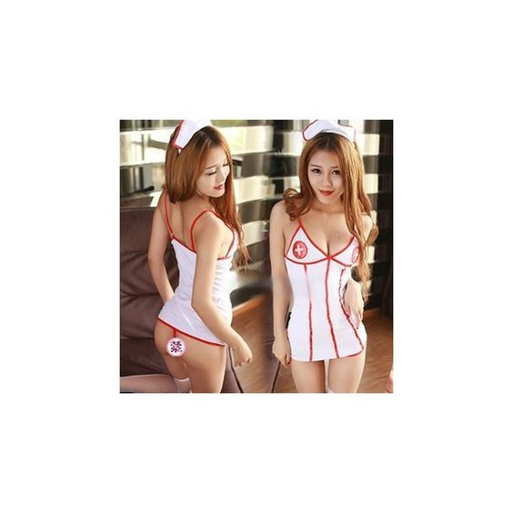 Nurse Lingerie Costume (£8.95) ❤ liked on Polyvore featuring costumes, innerwear, women, ladies costumes, womens costumes, nurse costume, nurse halloween costume and womens halloween costumes