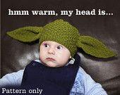 PDF pattern only - Yoda Hat Knitting Pattern - child & adult sizing included. $6.00, via Etsy.
