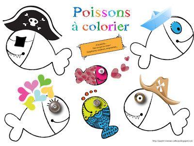 Pour le 1°Avril, voilà une sélection de petits poissons à imprimer, à colorier et à coller dans le dos des copains et des parents bien sûr!