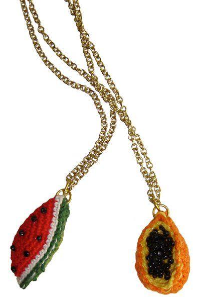 Crochet fruit necklace