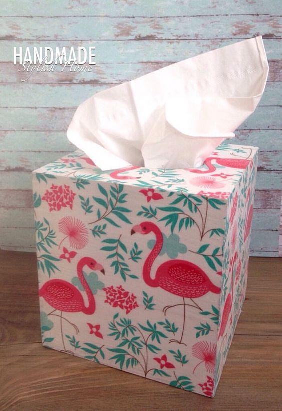 pink flamingo tissue box cover flamingo by HandmadeStylishHome
