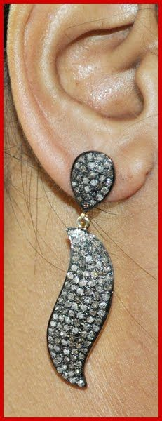 """""""Norly"""" Price: $815    4.85ctw ROSE CUT DIAMOND VICTORIAN LOOK .925 SILVER DANGLERS/EARRING ♥    Signature Victorian Collection....known for its international taste and appeal!    Imported, world-class quality, not pre-owned, not pawned, not stolen. WE DELIVER WORLDWIDE ♥"""