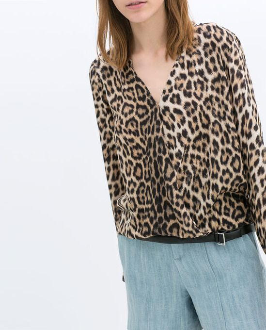 PRINTED BLOUSE WITH FAUX LEATHER DETAIL by Zara