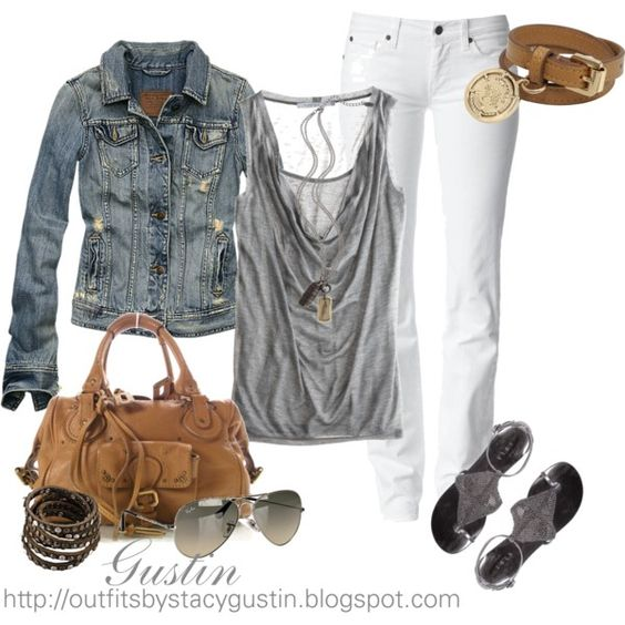 white jeans, great shirt and jean jacket. Love it!!