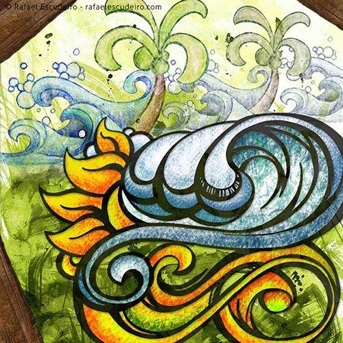 Coqueiros. http://rafaelescudeiro.com/site/artes/surf-art-digital/