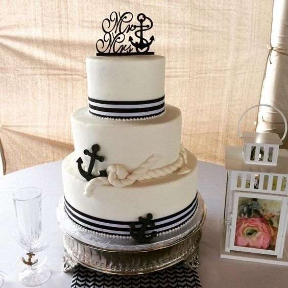 Nautical/Preppy Fondant Ribbon Round Topper Wedding Cake Wedding Cakes Photos & Pictures - WeddingWire.com