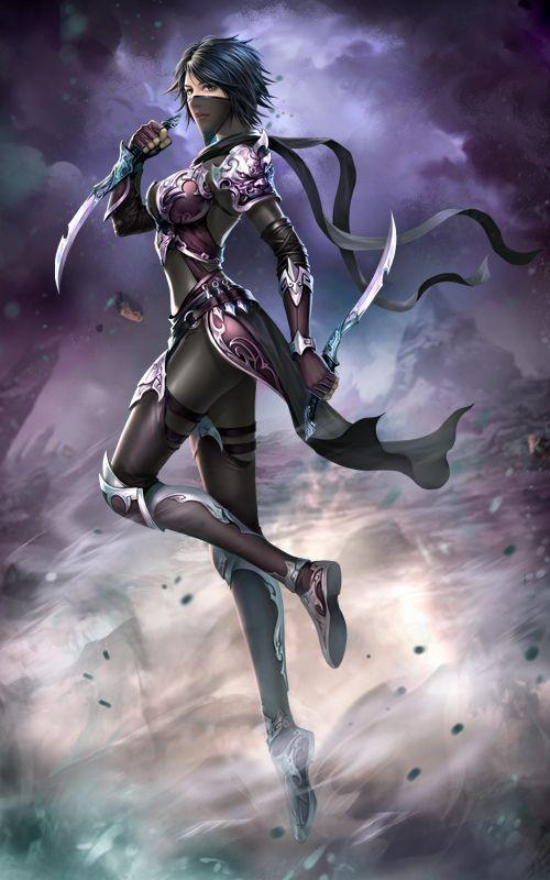 F Rogue Assassin Hilvl Med Armor Dual Shortswords Flying Mountains Urban City Fantasy Art Women Fantasy Girl Female Ninja