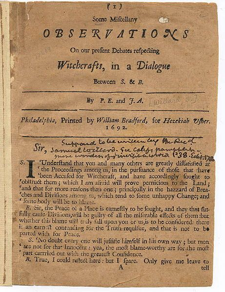 a speech on the salem witch trials in 1692 The larger project from which this essay is taken benefited many times from the  generos- ity of the  salem witchcraft trials: in early 1692, in the household of the.