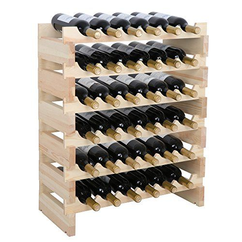 Lemy Solid Wood Wine Rack Stackable Modular Storage Stand Wooden Wine Holder Display Shelves Wobble Free 6 6 Row 36 Bottles For Sale Standing Wine Rack Wine Rack Storage Free Standing Wine Rack