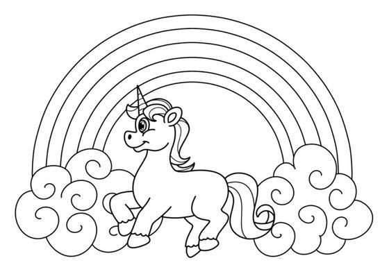 10 Printable Unicorn And Rainbow Coloring Pages
