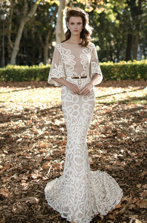 Berta embellished lace wedding dress with wild elbow-length sleeves, Berta Spring 2016 Bridal Collection