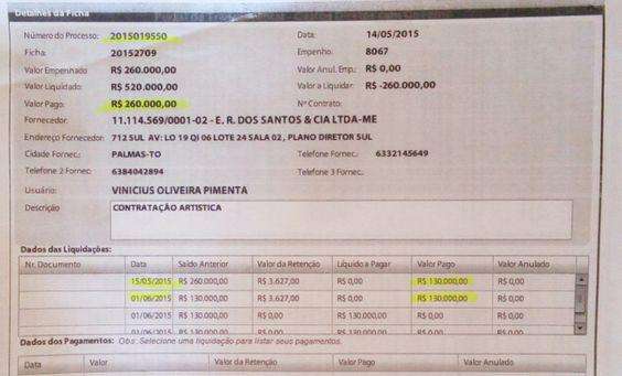 Prefeitura de Palmas pagou R$ 260 mil por shows que não ocorreram