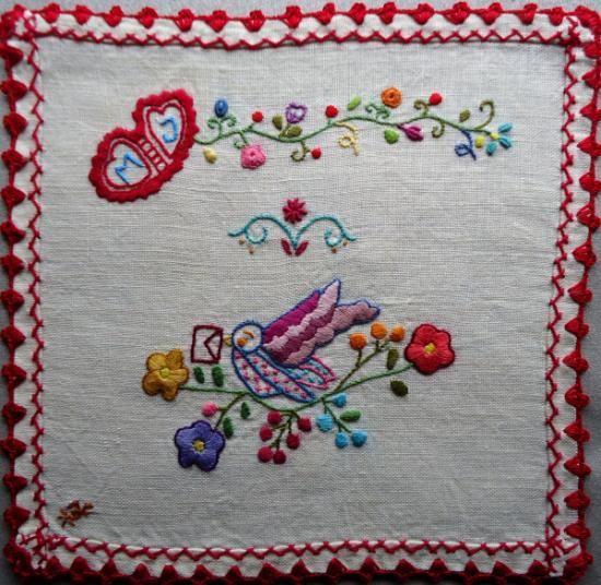 lenço dos namorados 31_20x20 cm  pano de linho,linhas mouliné anchor bordado