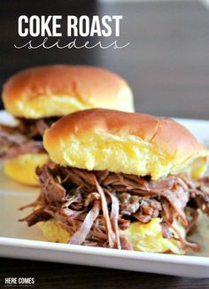 3 ingredient Coke Roast Sliders! Perfect slow cooker recipe!
