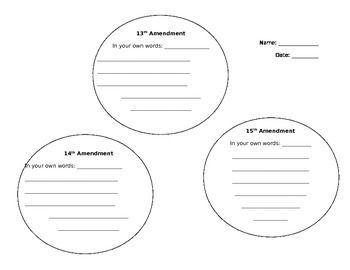 Printables Reconstruction Worksheets this worksheet allows students to describe the amendments from reconstruction era in their own words